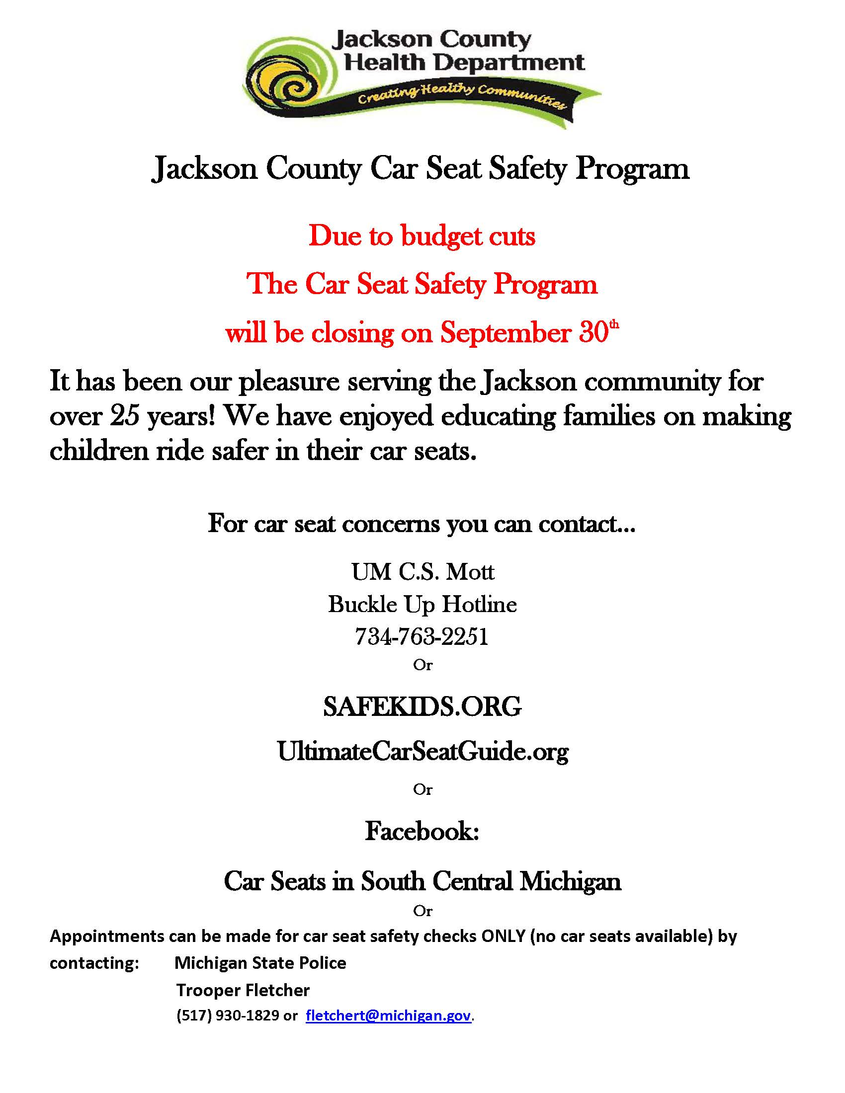 Child Passenger Safety closing